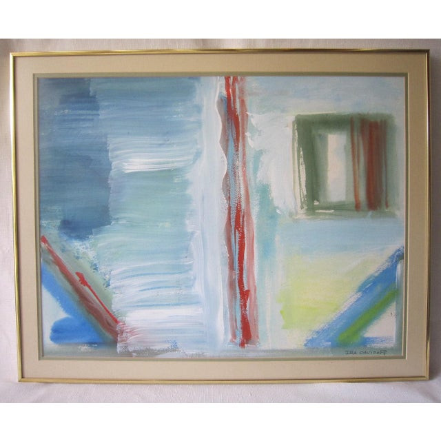 """Acrylic painting on paper signed """"Ira Davidoff"""". Peaceful combination of blues with bright accents. Double matted and..."""