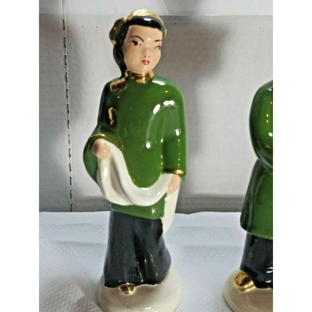 Ceramic Vintage M. Craver Asian Couple Porcelain Figurines - a Pair For Sale - Image 7 of 9