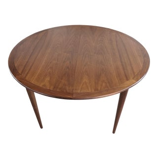 Mid Century Danish Refinished Walnut 1960's Round Dining Table For Sale