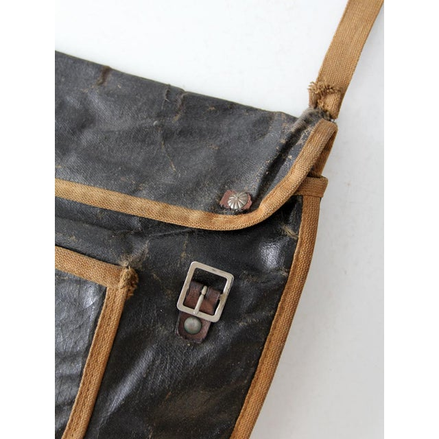 Black Antique American School Satchel For Sale - Image 8 of 10