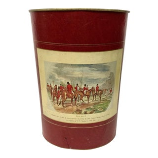 Mid Century Equestrian Hunt Theme Waste Basket For Sale