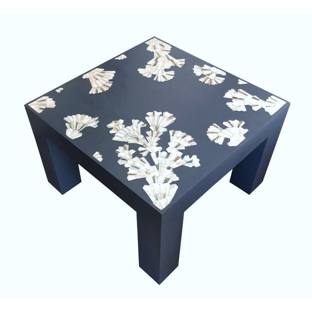 Modern Blue Coffee Table With Mother of Pearl Inlay For Sale - Image 12 of 12