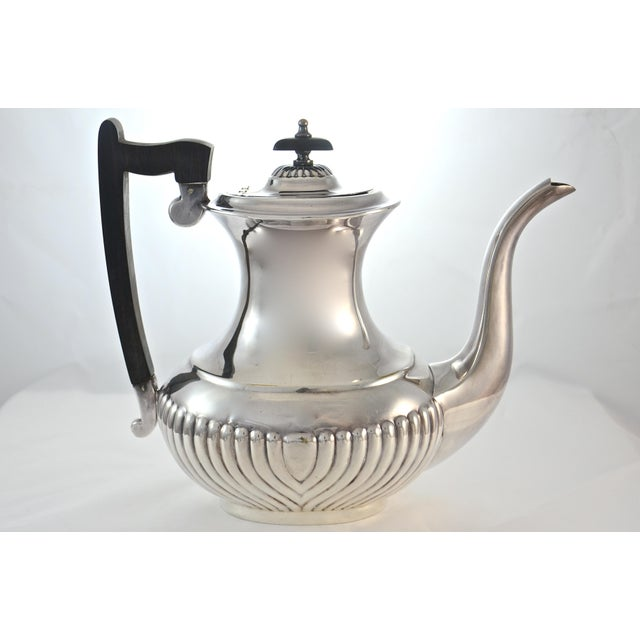 """Grand vintage English Viners of Sheffield fluted """"Alpha Silverplate"""" coffee and tea serving set with creamer and lidded..."""