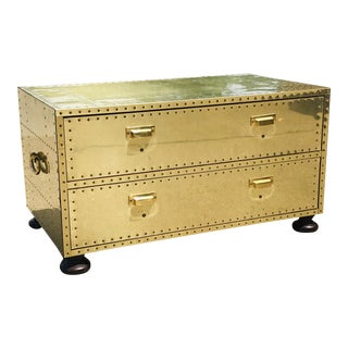 1960s Campaign Brass Sarreid Two-Drawer Studded Low Chest of Drawers For Sale