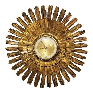 Vintage Brutalist Gold Sunburst Syroco Wall Clock For Sale