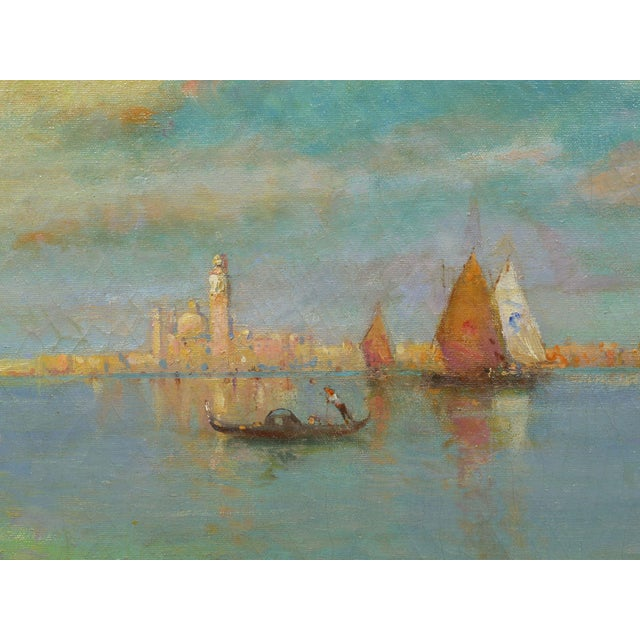 """Blue """"View of Venice"""" Antique Oil Painting by Nicholas Briganti (American, 1861-1944) For Sale - Image 8 of 13"""
