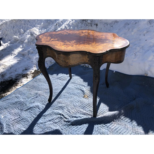 Louis XV Style Mahogany and Satinwood Marquetry Inlaid Center Table For Sale - Image 12 of 13