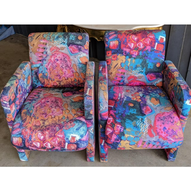 Contemporary 1980s Contemporary Colorful Modernist Chairs, a Pair For Sale - Image 3 of 13