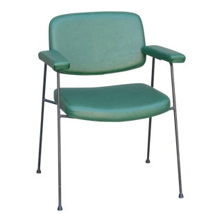 1950s Pierre Paulin for Thonet Green Vinyl Armchair For Sale