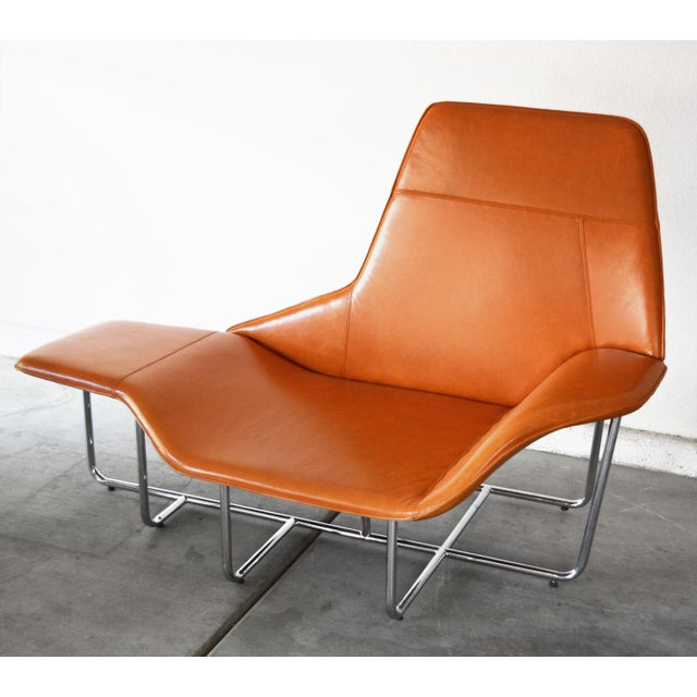 Modern Leather and Chrome Chaise Lounge Chair by Mark David Design For Sale - Image 11 of 13