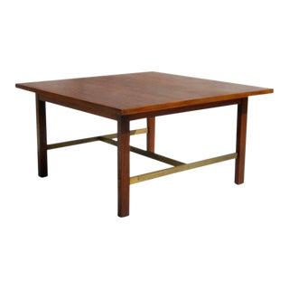 1960s Mid Century Modern Paul McCobb Calvin Group Walnut Brass Coffee Table For Sale