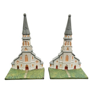 1920's American Cast Iron Church Bookends - a Pair For Sale