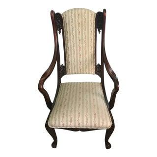 20th Century Edwardian Stripe Upholstery Mahogany Side Chair