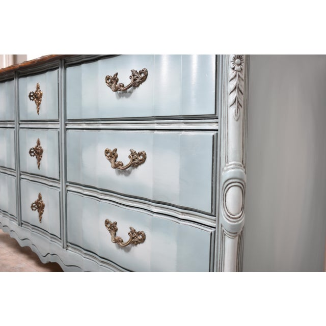 French Provincial Nine Drawer Triple Dresser For Sale - Image 11 of 13