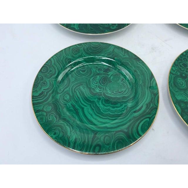 Hollywood Regency 1980s Neiman Marcus Malachite Porcelain Dessert Plates, Set of Four For Sale - Image 3 of 10