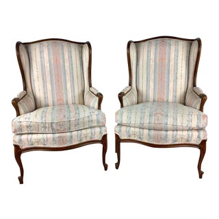 Vintage Style Floral Striped Upholstered Wingback Armchairs - a Pair