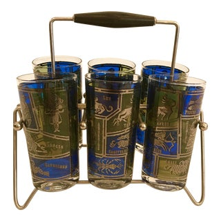 Zodiac Highball Glasses W/ Caddy, S/6 For Sale