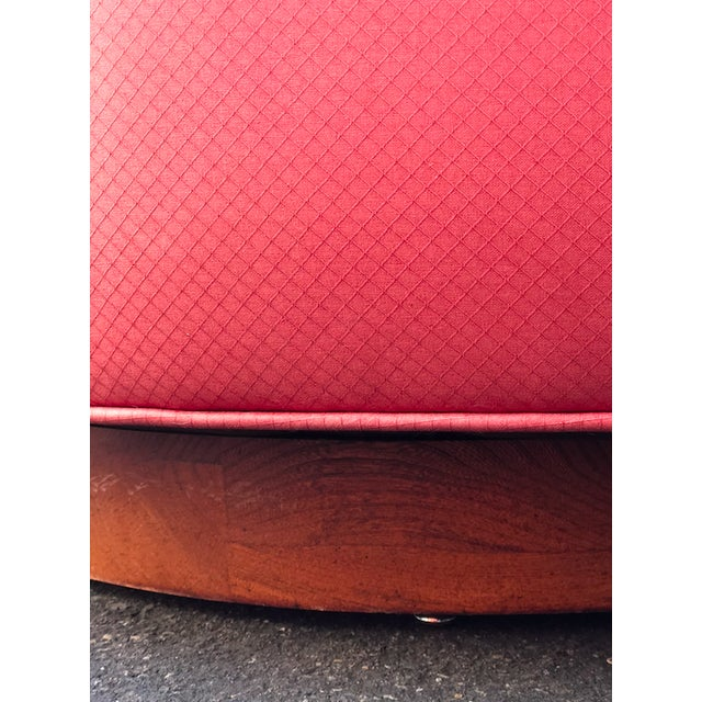 Vintage Milo Baughman Style Custom Swivel Chairs in Original Coral Fabric - a Pair For Sale - Image 9 of 11