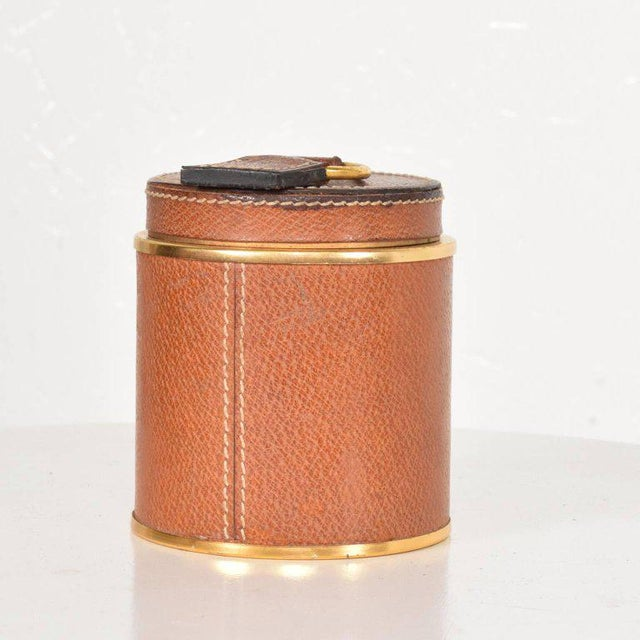 Mid-Century Modern Vintage Hermès Style Leather and Brass Cigarette Holder, Italy, 1950s For Sale - Image 3 of 6