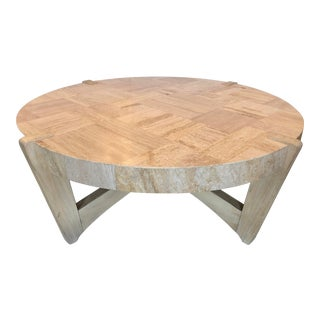 Large Travertine & Wood Coffee Table For Sale