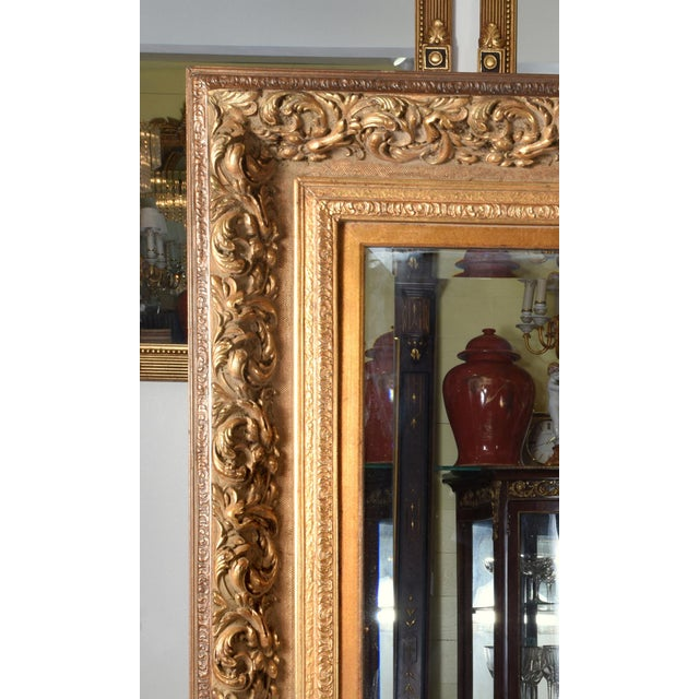 1920s French Vintage Large Beveled Giltwood Frame Wall Mirror For Sale - Image 4 of 7