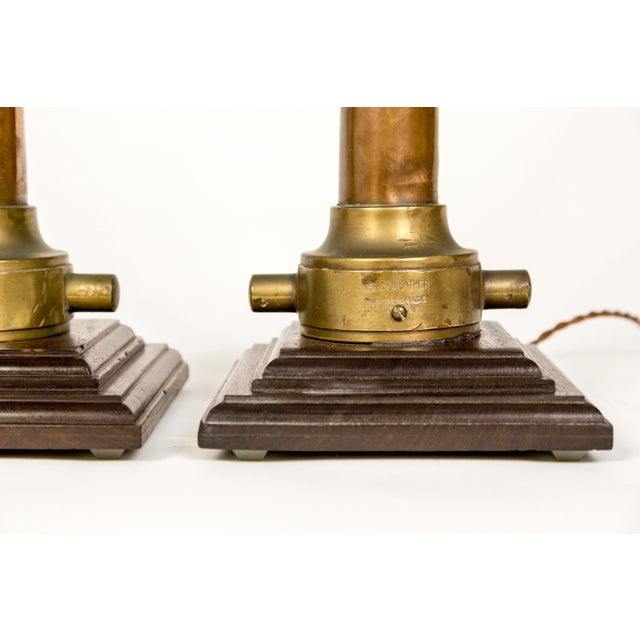 Copper & Brass Victorian Fire Hose Nozzle Lamps (Pair) For Sale - Image 12 of 13