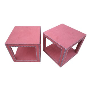 Century Furniture Red Upholstered Lamp Tables - a Pair