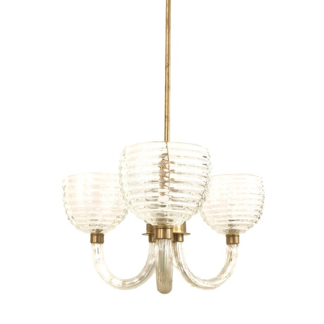 Contemporary 1930s Italian Clear Fluted Glass Three-Arm Chandelier by Barovier E Toso For Sale - Image 3 of 4