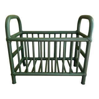 Mid Century Green Bentwood Magazine/Record/Storage Rack For Sale