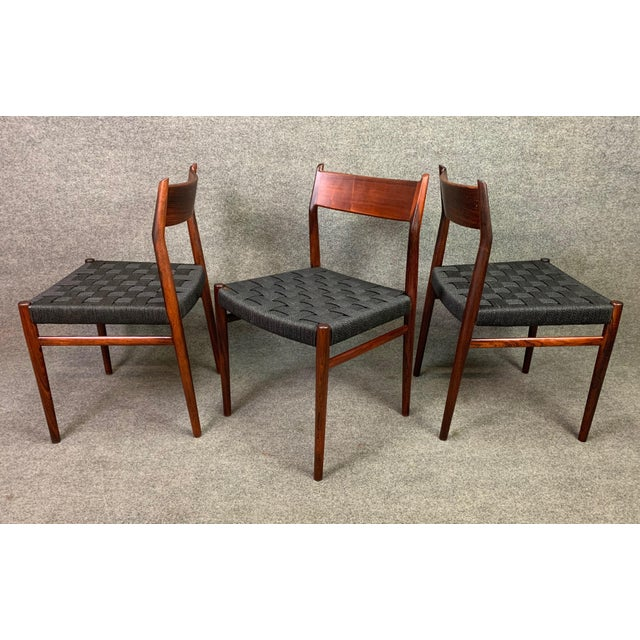 Set of Six Vintage Mid Century Danish Modern Rosewood Dining Chairs Model #418 by Arne Vodder for Sibast For Sale - Image 11 of 12
