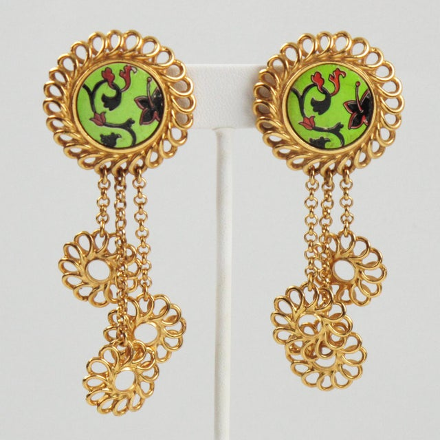 Green Kenzo Paris Drop Dangling Floral Gilt Metal With Ceramic Clip on Earrings For Sale - Image 8 of 8