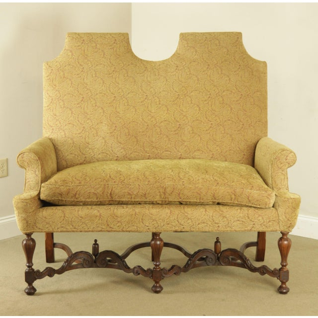 Jacobean Jacobean Style Antique Walnut Base Upholstered Settee For Sale - Image 3 of 12