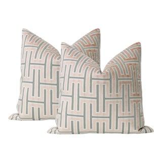 """22"""" Grecian Cut Velvet Blush Pillows - a Pair For Sale"""