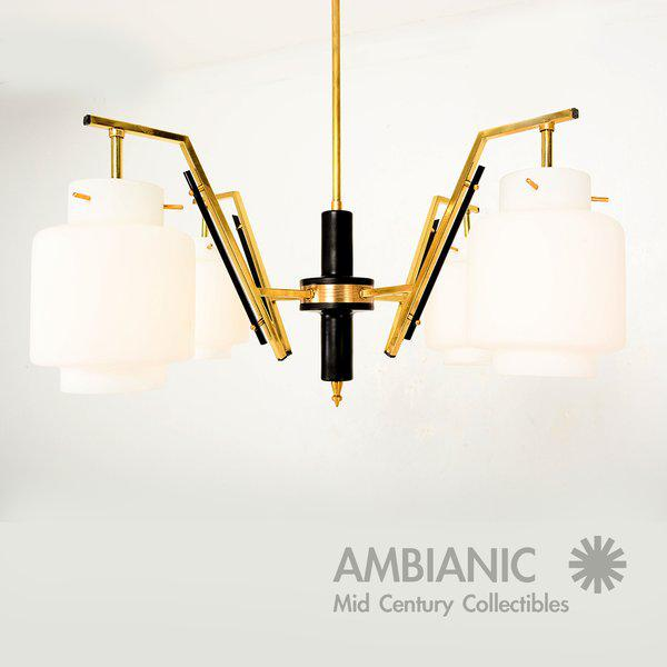 Italian Chandelier With Opaline Shades For Sale In San Diego - Image 6 of 8