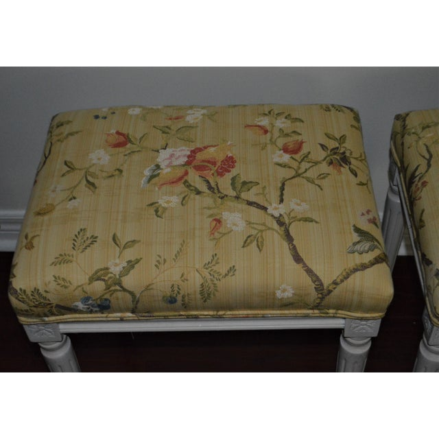 Gustavian (Swedish) Gustavian Yellow Fabric Benches - a Pair For Sale - Image 3 of 9