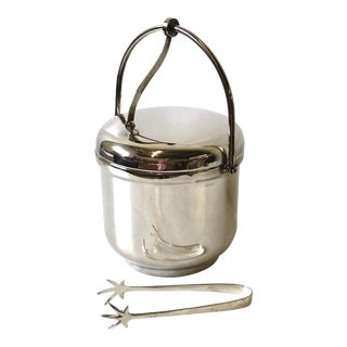 Silverplated Swing Top Ice Bucket and Tongs, Reed & Barton - a Pair For Sale
