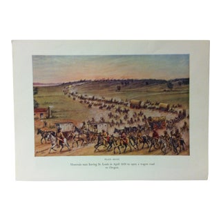 "Americana Color Print on Paper, ""Mountain Men Leaving St. Louis in April 1830"" by w.h. Jackson, Circa 1940 For Sale"