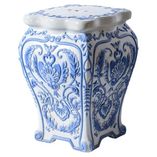 Italian Terra Cotta Glazed Blue & White Garden Stool For Sale