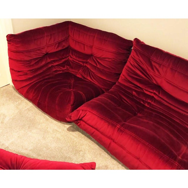 1970s Mid Century Modern Michel Ducaroy For Ligne Roset Red Velvet