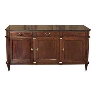 Antique French Directoire Mahogany Marble Top Buffet For Sale