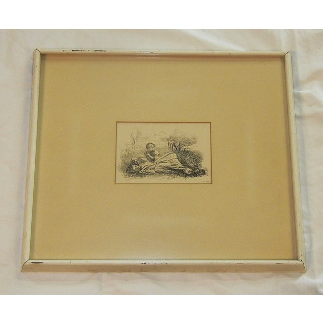 """Etching Mid 19th Century Antique Sir John Everett Millais """"Summer Indulgence"""" Black and White Etching Print For Sale - Image 7 of 7"""
