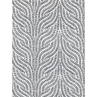Sample, Scalamandre Willow Vine Embroidery, Navy Fabric For Sale