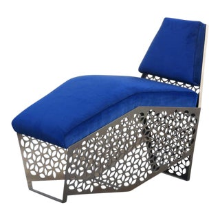 Custom Modern Petite Chaise Lounge Chair by Rehab Vintage Interiors