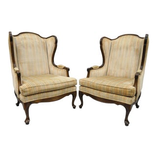 Vintage Ethan Allen Queen Anne Wingback Chairs - A Pair
