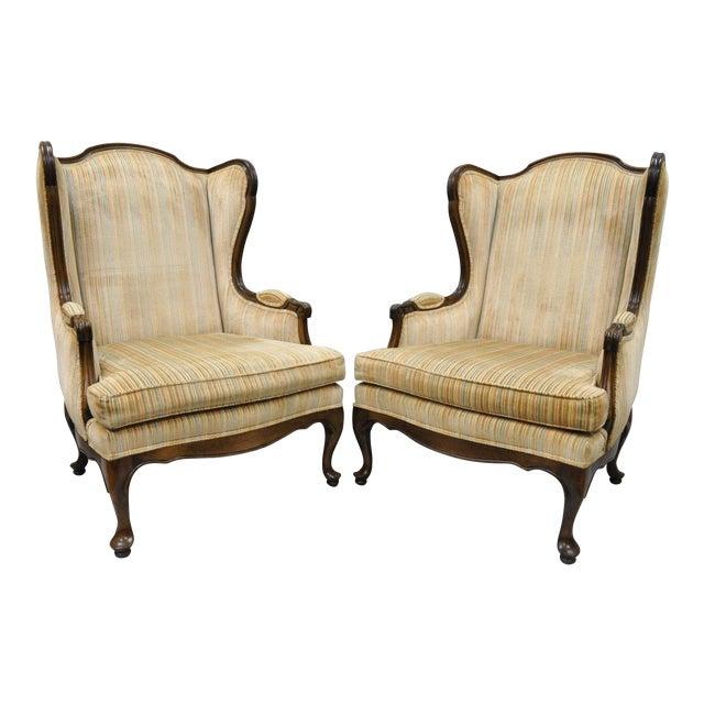 Vintage Ethan Allen Queen Anne Wingback Chairs - A Pair - Vintage Ethan Allen Queen Anne Wingback Chairs - A Pair Chairish