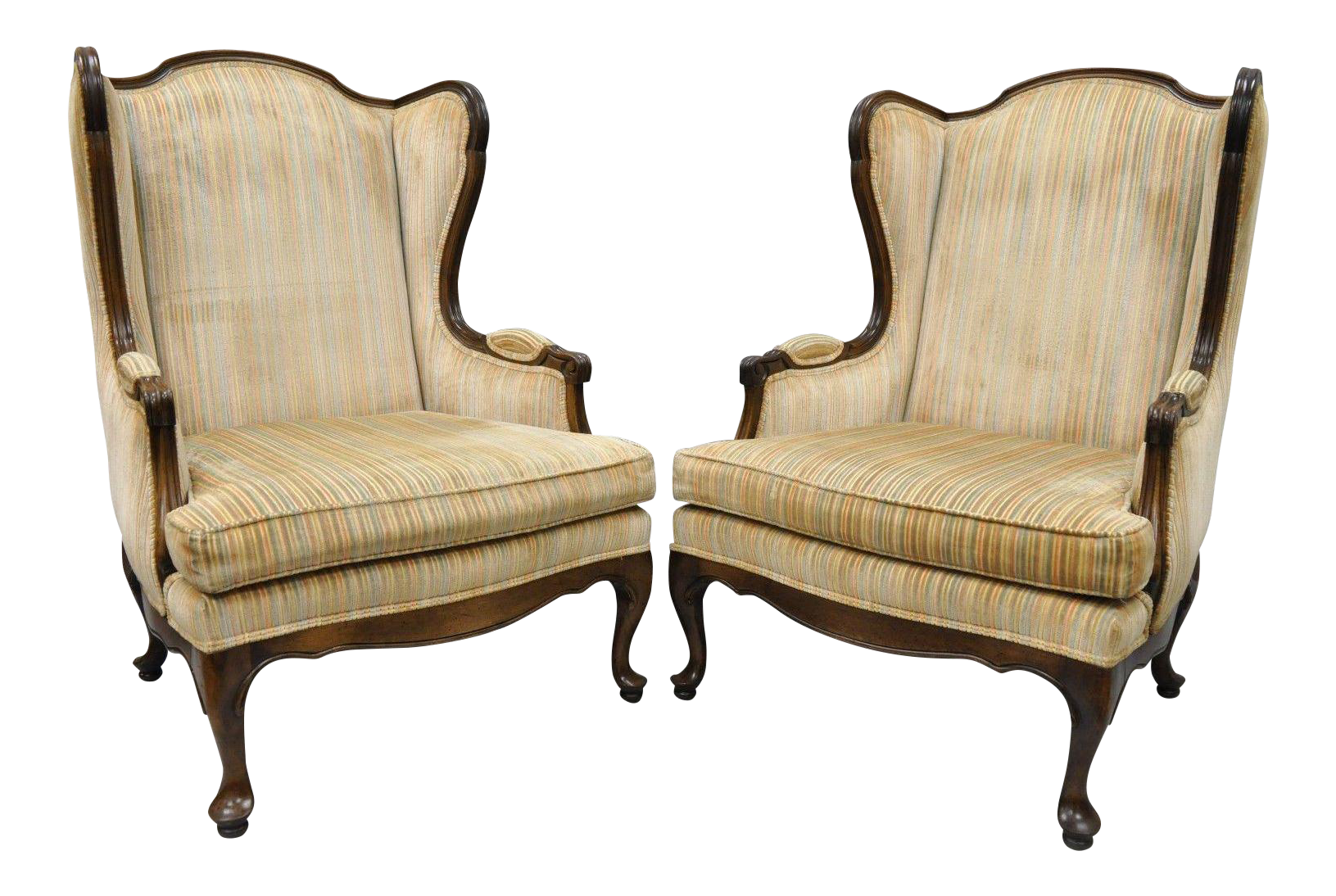 Vintage Ethan Allen Queen Anne Wingback Chairs   A Pair