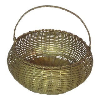 Vintage Round Woven Brass Basket For Sale