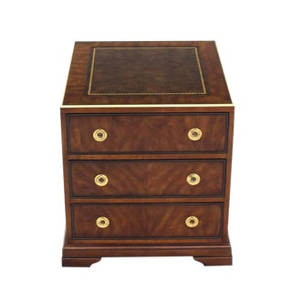 Three Drawer Campaign Style Three-Drawer Chest Occasional Cabinet Stand Table For Sale