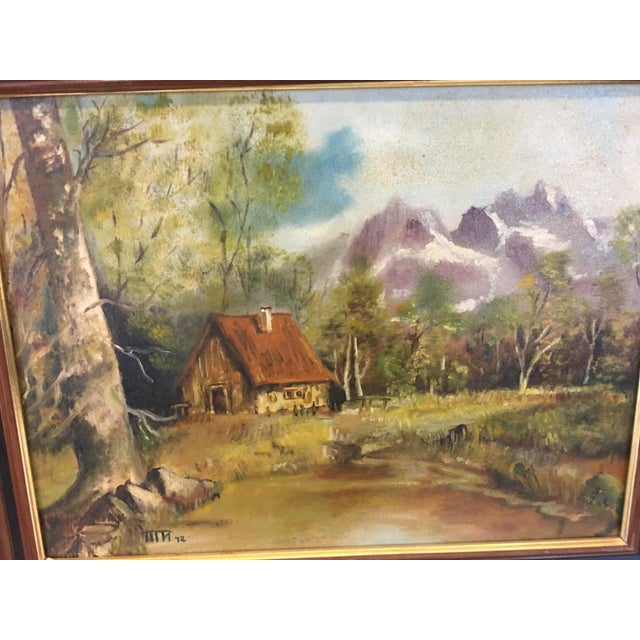 Country 1972 Hudson Valley Mountain Cabin Oil Painting For Sale - Image 3 of 7