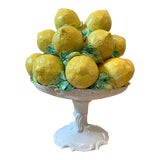 Image of 1970's Italian Lemon Ceramic Topiary Compote Large For Sale